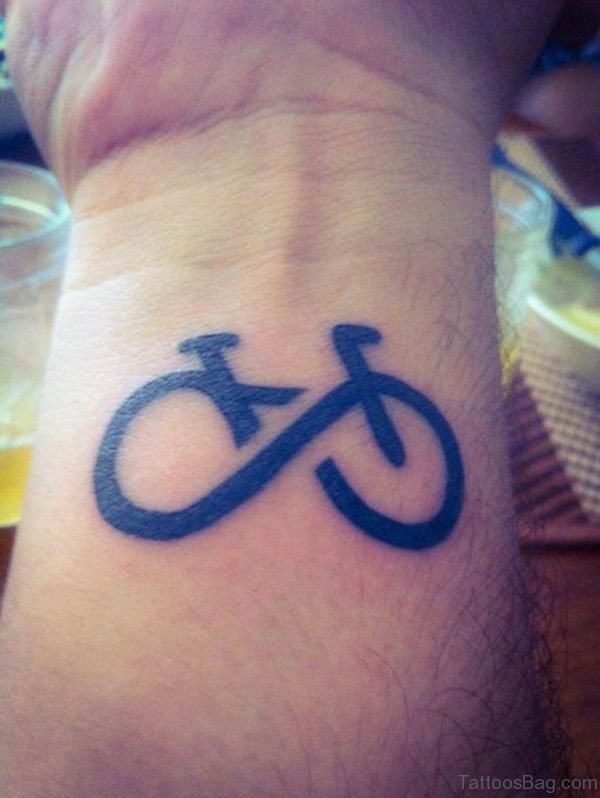 Black Infinity Cycle Wrist Tattoo