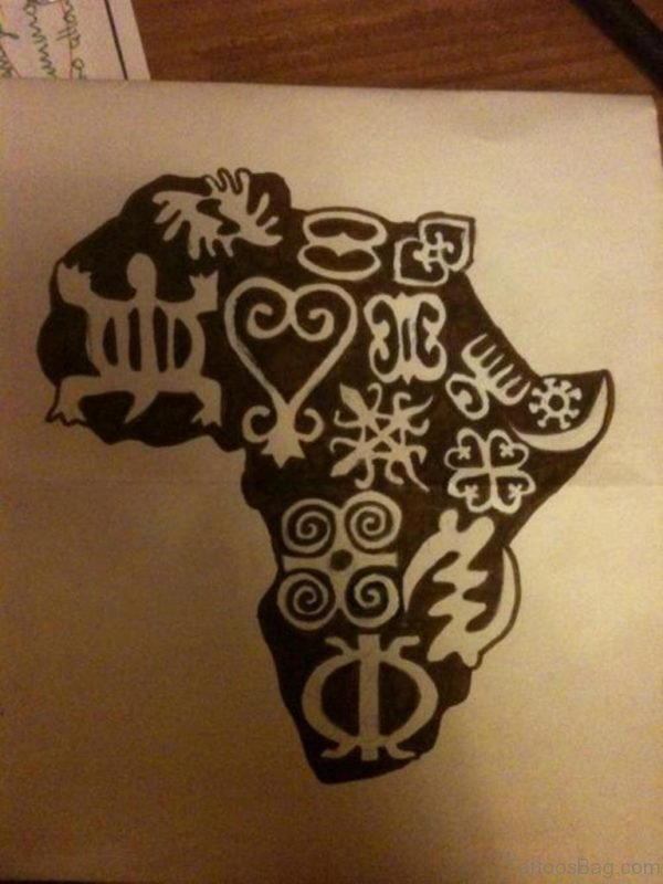 Black Ink African Map Tattoo On Back