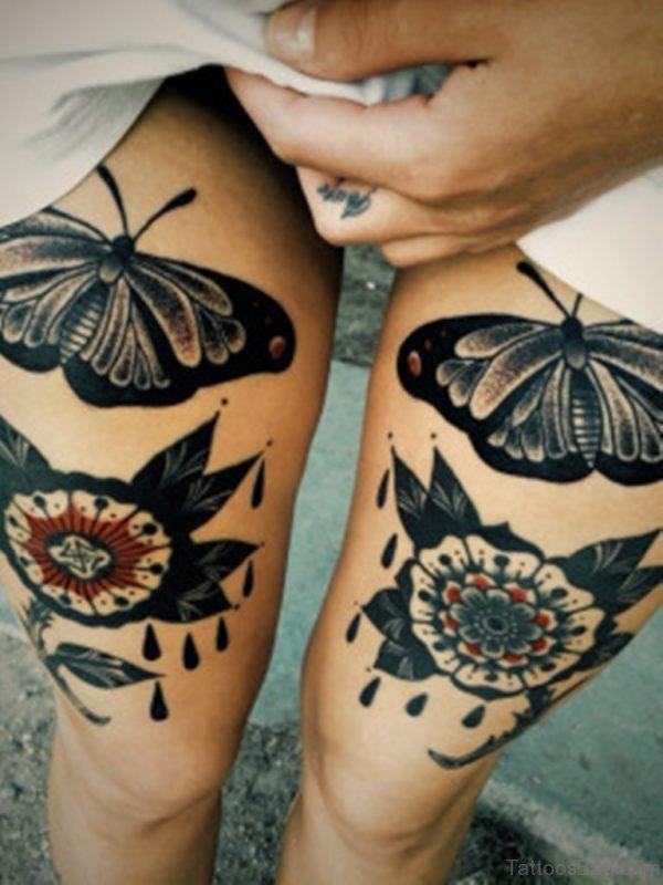 Black Ink Butterfly Tattoo