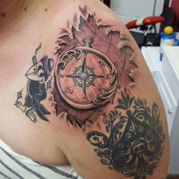 Black Ink Compass Tattoo Design