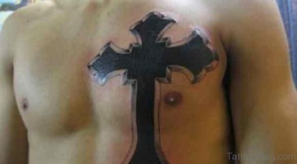 Black Ink Cross Tattoo Design