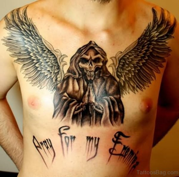 Black Ink Death Grim Reaper With Wings Tattoo