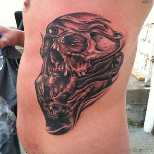 252b14609 Black Ink Death Skull Tattoo Design For Side Rib