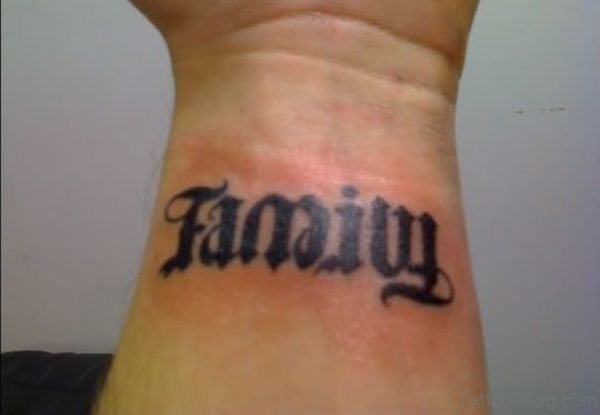 Black Ink Family Ambigram Tattoo On Wrist