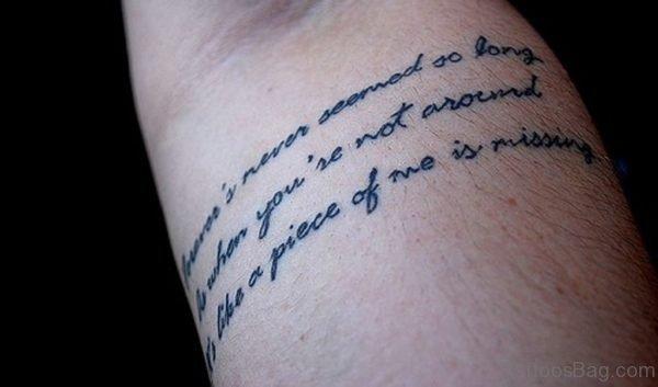 Black Ink Fantastic Wording Tattoo On Arm