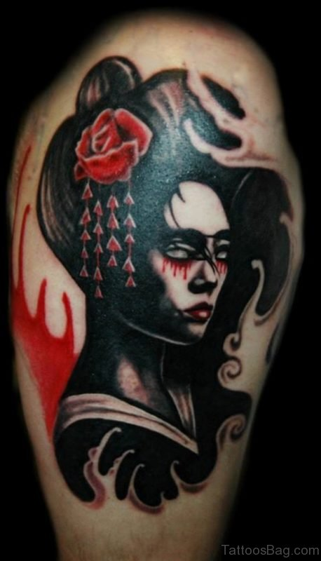 Black Ink Geisha Tattoo On Thigh