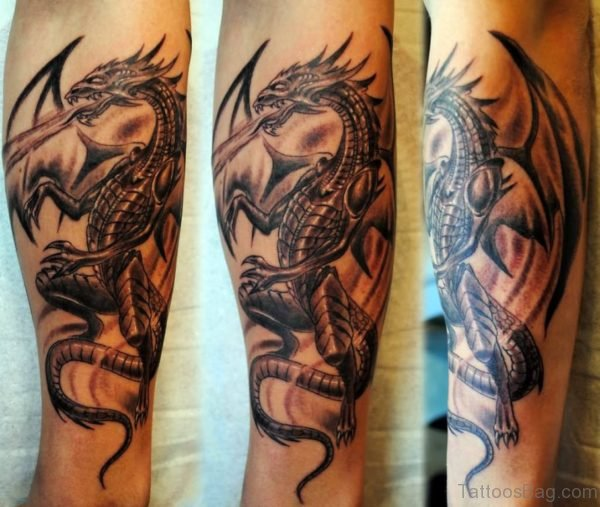 Black Ink Gothic Dragon Tattoo Design For Arm
