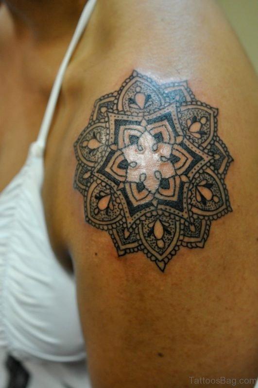 Black Ink Mandala Tattoo