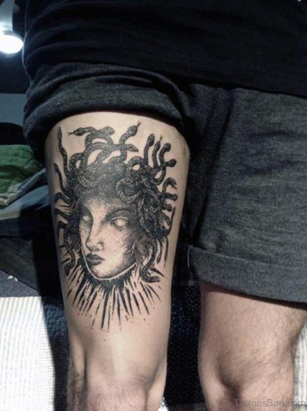 Black Ink Medusa Tattoo