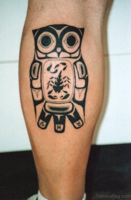 Black Ink Owl Tattoo