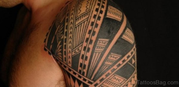 Black Ink Polynesian Tribal Tattoo