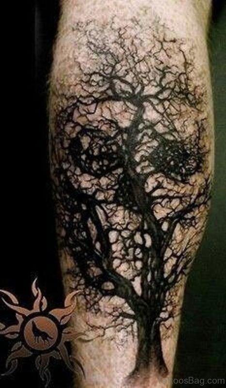 Black Ink Tree Skull Tattoo