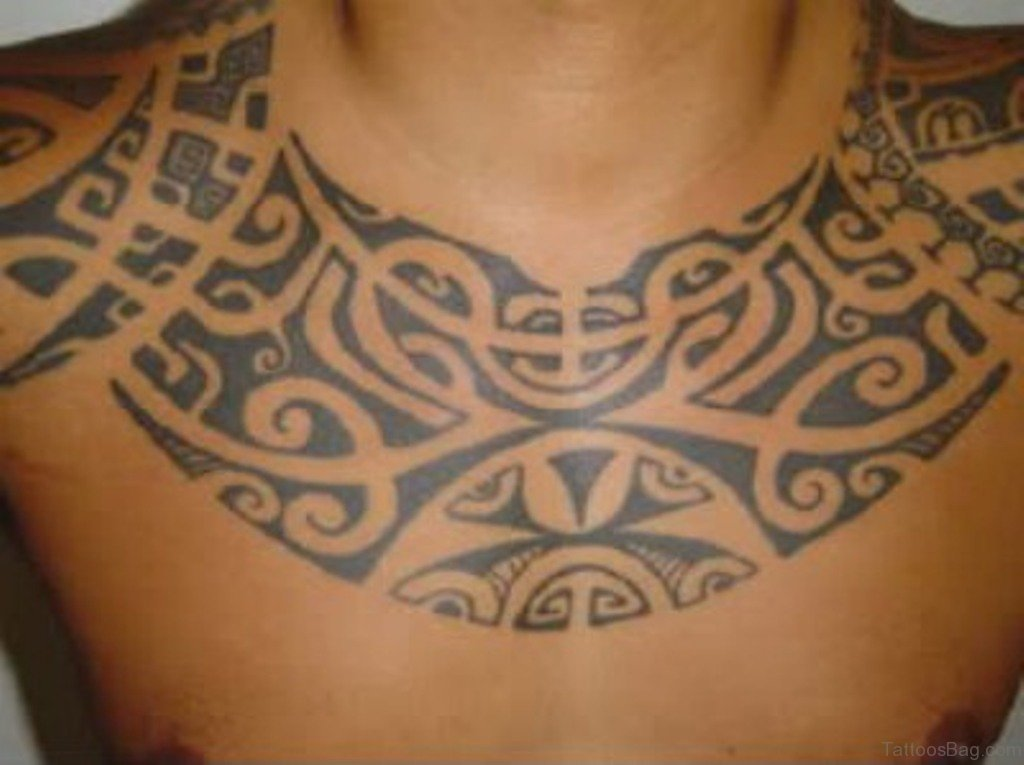 55 elegant tribal tattoos for chest. Black Bedroom Furniture Sets. Home Design Ideas