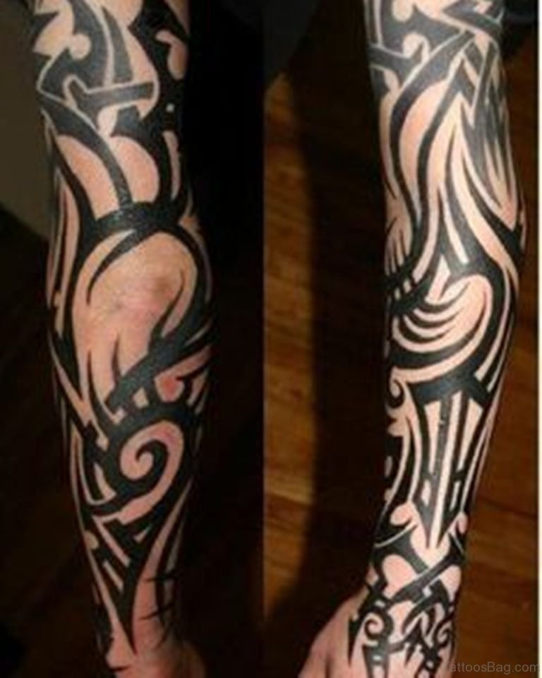 70 fabulous tribal tattoos on full sleeve for Black tribal tattoo ink
