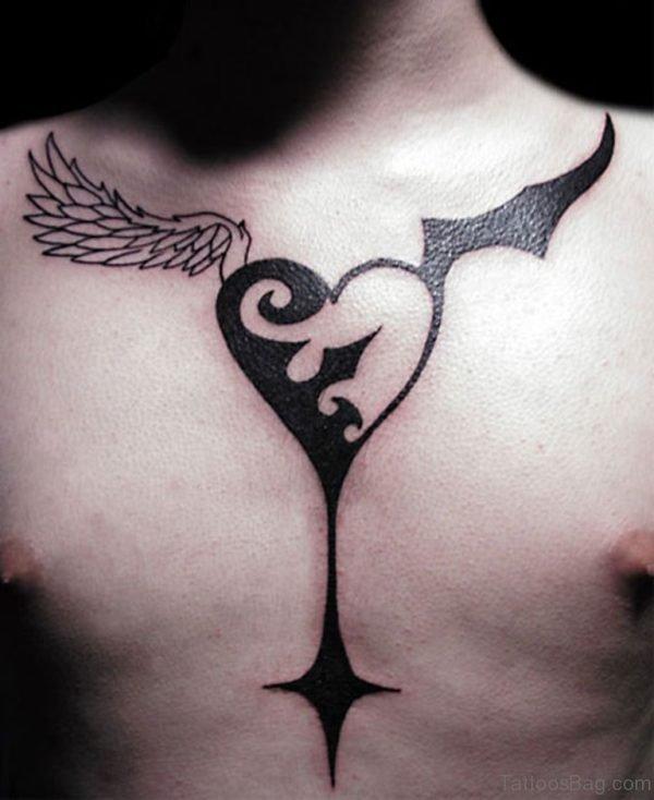 Black Inked Heart Tattoo
