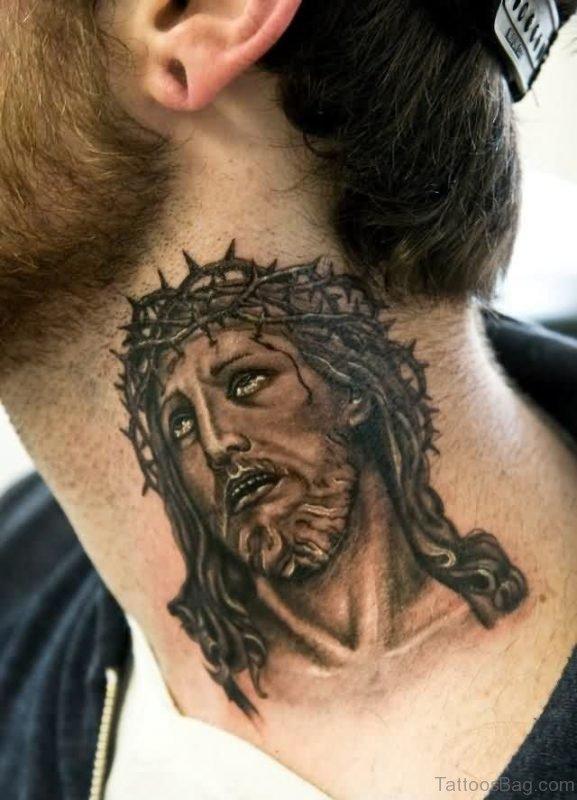 Black Jesus Neck Tattoo Design