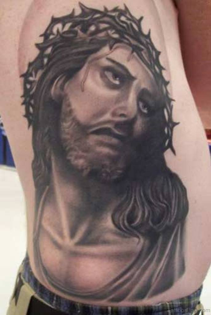 30 best jesus tattoos on rib. Black Bedroom Furniture Sets. Home Design Ideas