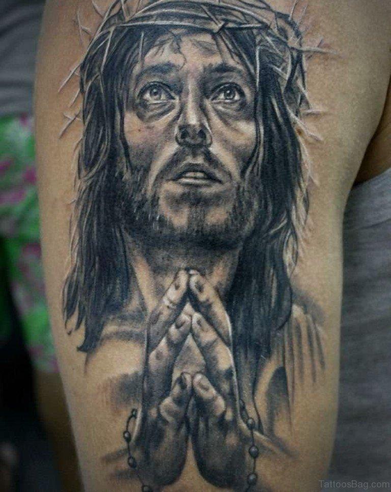 72 stylish jesus tattoos for shoulder for Tattoos of black jesus