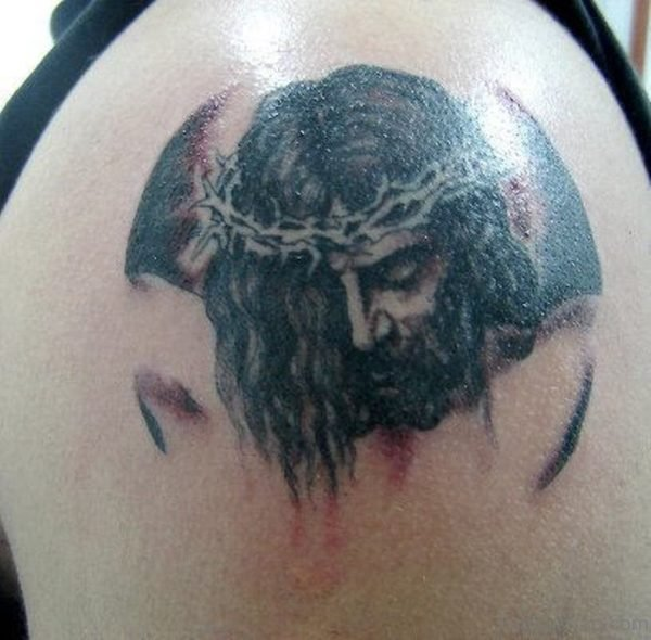 Black Jesus Tattoo On Shoulder