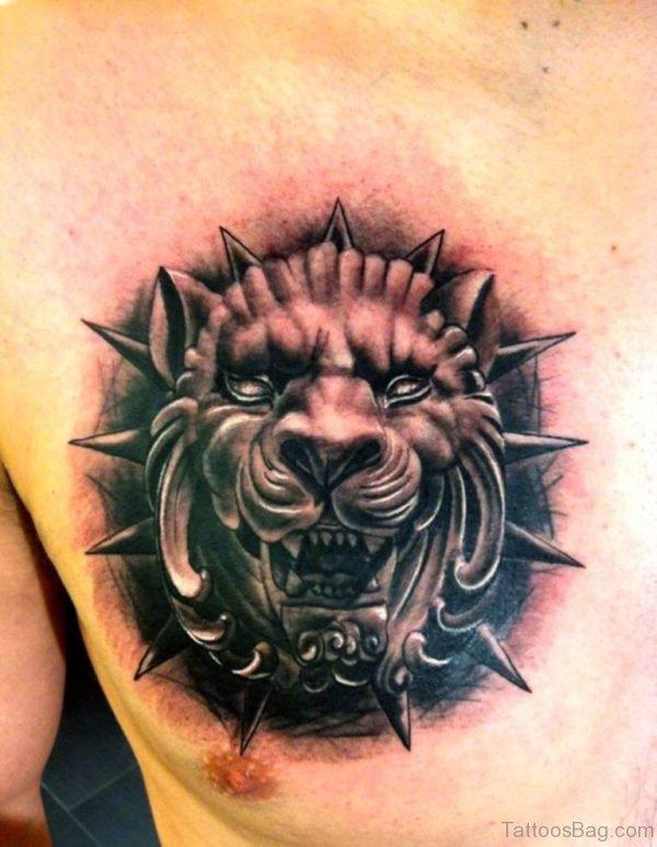 Black Lion Tattoo On Chest