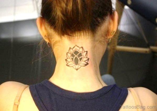 Black Lotus Tattoo On Back Neck