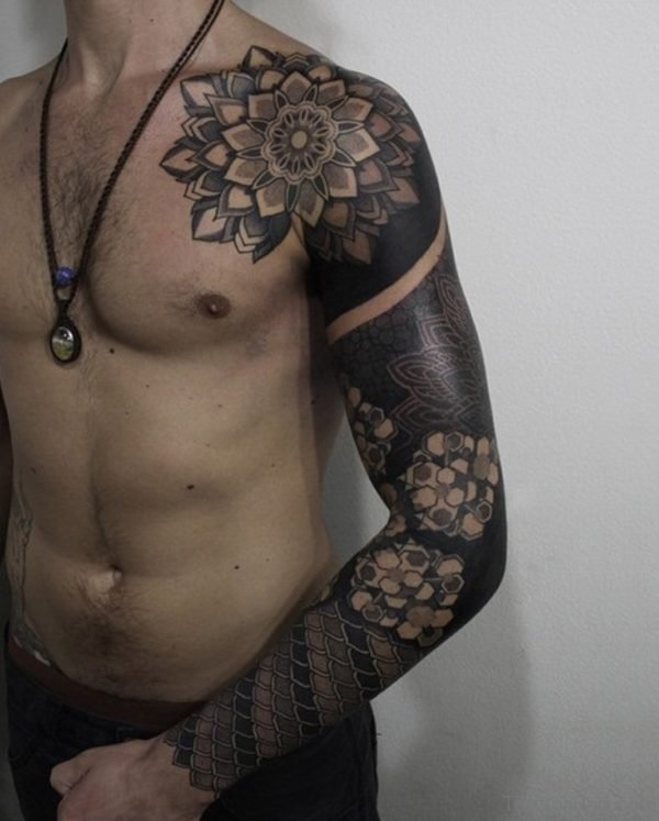 Black Mandala Tattoo On Full Sleeve