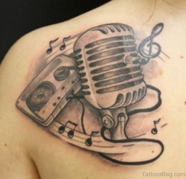 Black Music Shoulder Tattoo Design