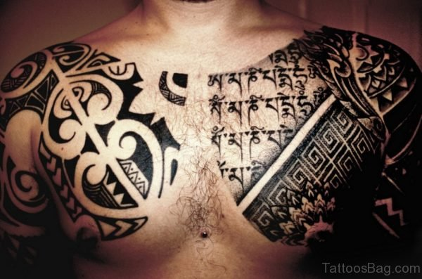 Black Music Tattoo On Chest