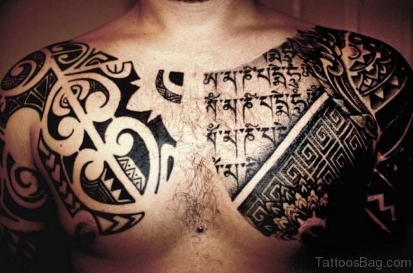 Black Music Tattoo On Chest