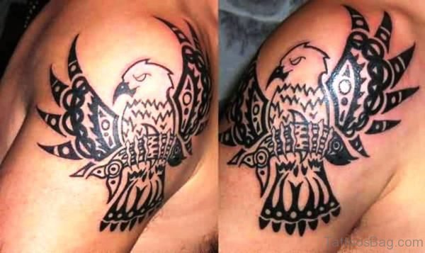 Black Native Eagle Tattoo Design