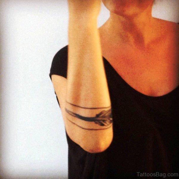 Black Nice Arrow Tattoo On Arm
