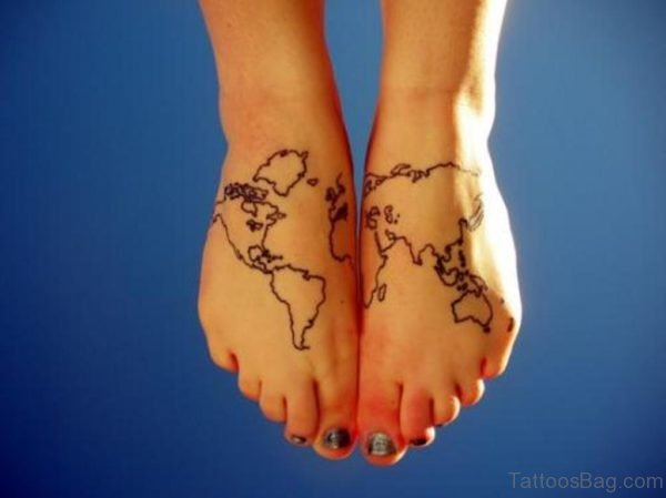 Black Outline World Map Tattoo On Girl Feet