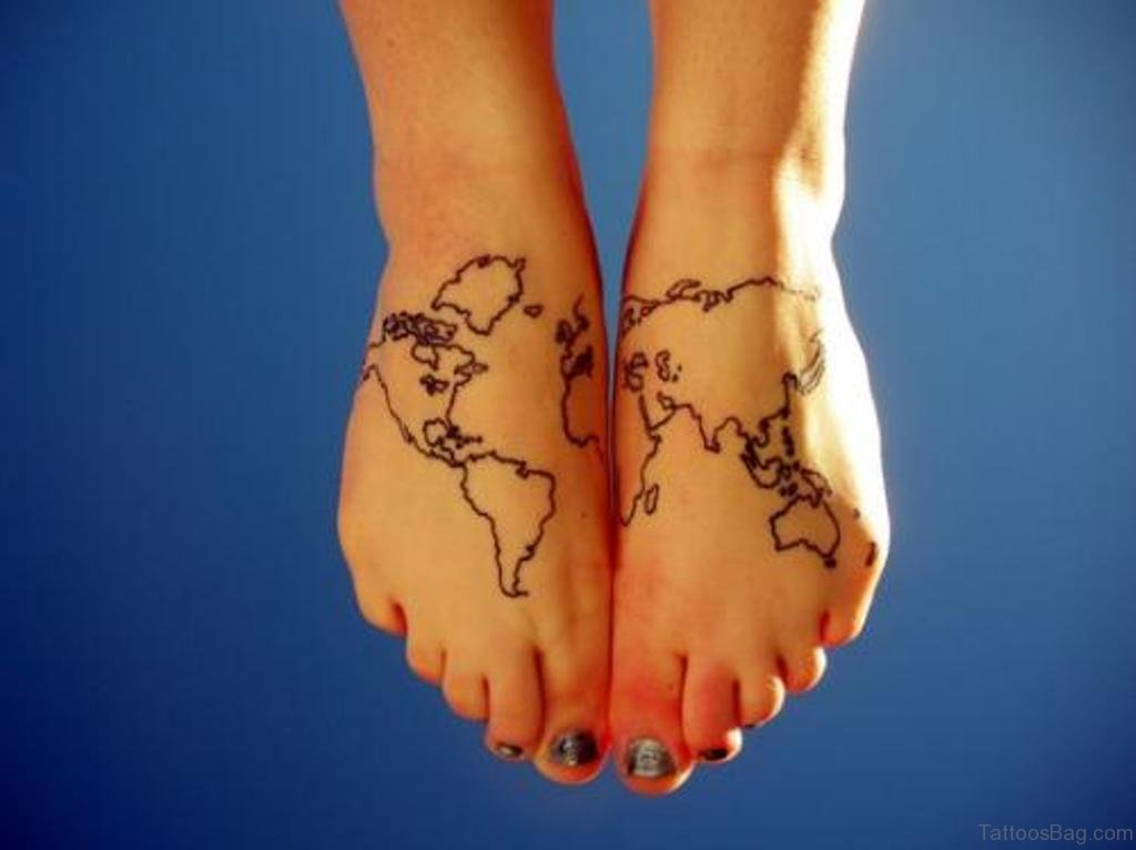 47 incredible map tattoos for foot black outline world map tattoo on girl feet gumiabroncs Image collections