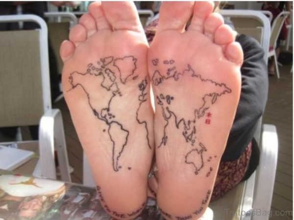 Black Outline World Map Tattoo On Under Feet