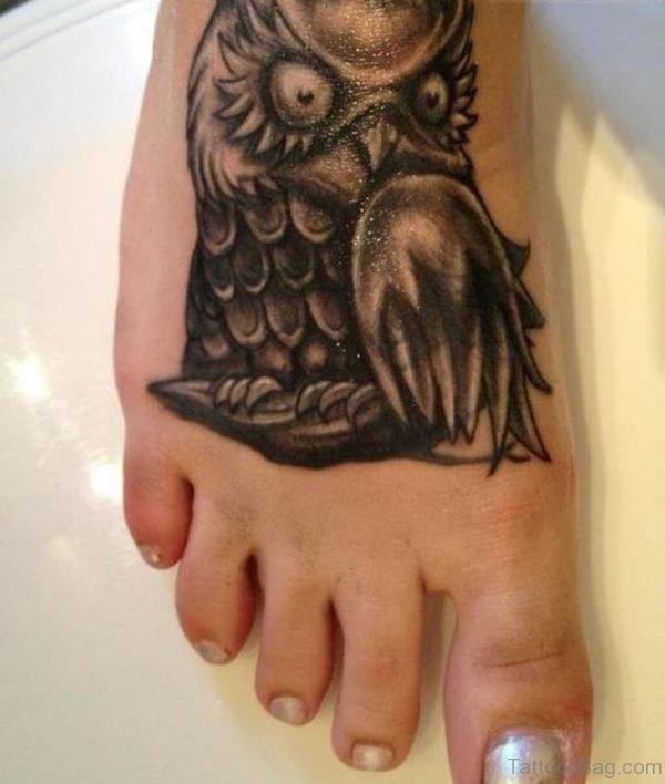Black Owl Tattoo On Foot