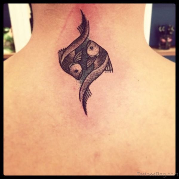 Black Pisces Tattoo On Neck