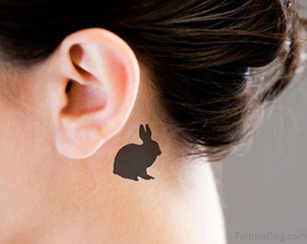 Black Rabbit Tattoo On Neck