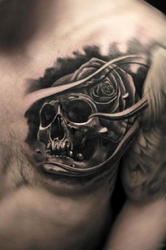 Black Rose And Skull Tattoo