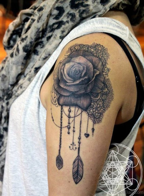 Black Rose Tattoo On Left Shoulder