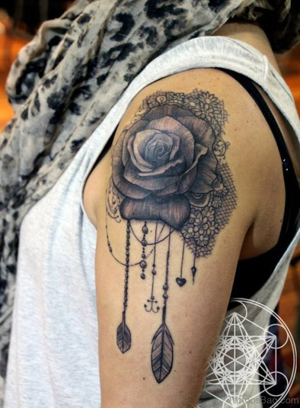 61 matchless lace shoulder tattoo designs for Rose tattoo on back shoulder