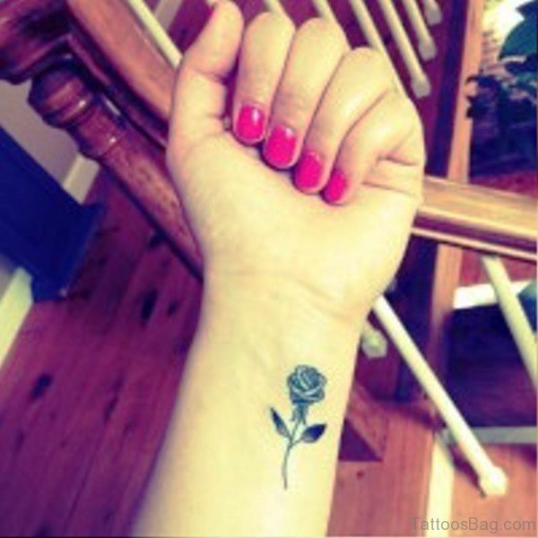 Black Rose Tattoo On Wrist
