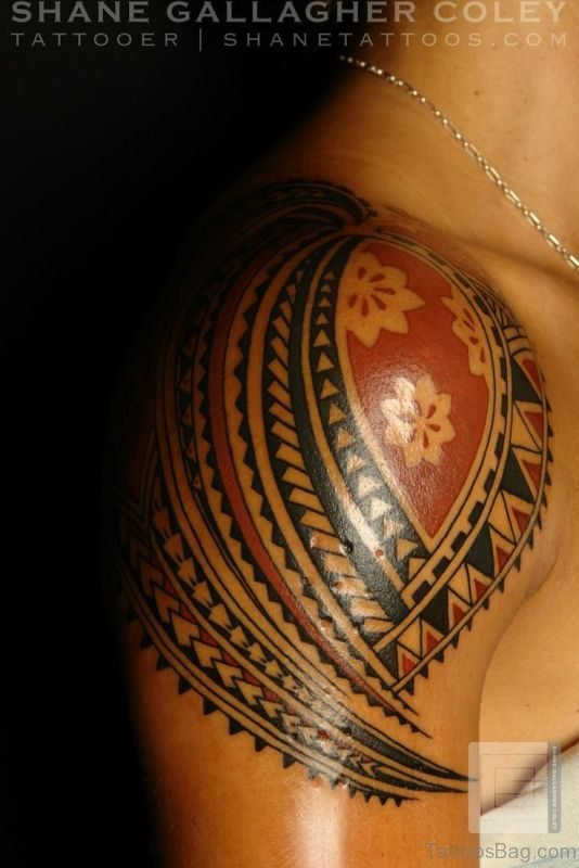Black Samoan Tattoo On Shoulder