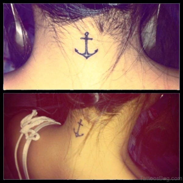 Black Simple Anchor Tattoo