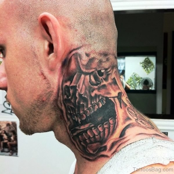 Black Skull Neck Tattoo