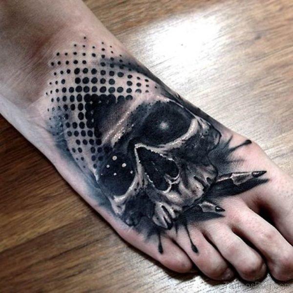 Black Skull Tattoo On Foot