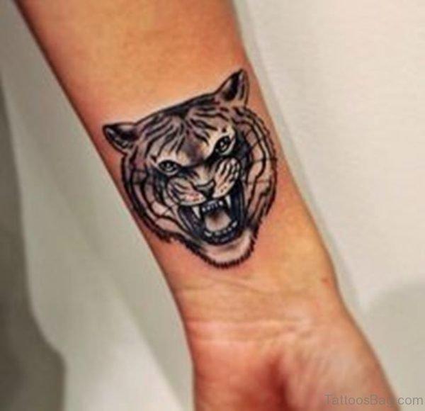 Black Tiger Face Tattoo On Wrist
