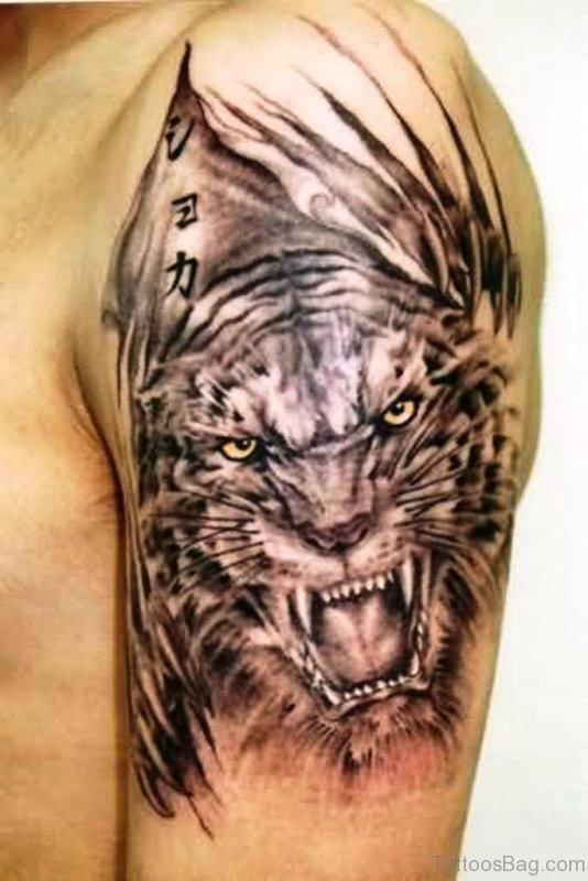 Black Tiger Shoulder Tattoo