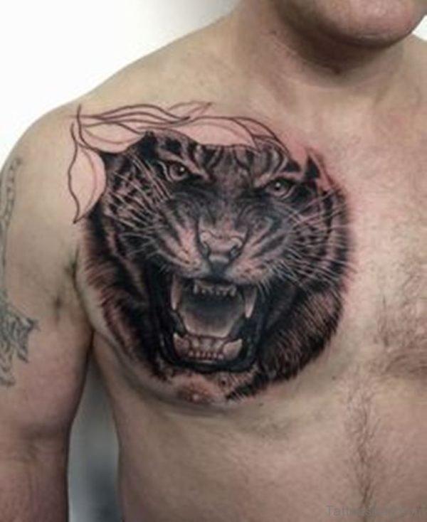 Black Tiger Tattoo  On Chest