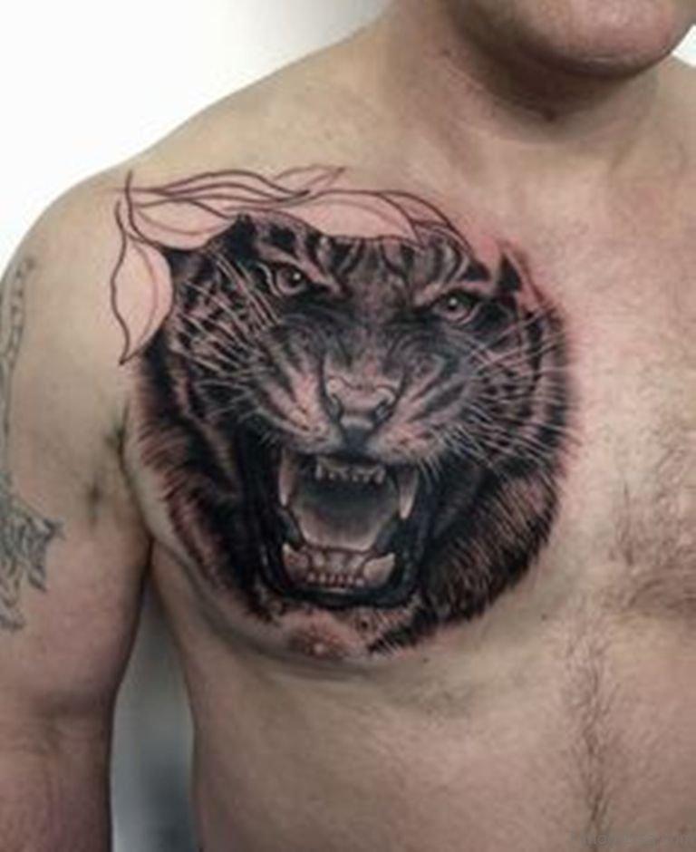 White tiger tattoo chest