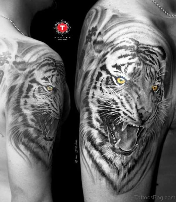 Black Tiger With Shining Eye Tattoo
